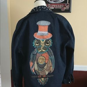 Hand Painted Steampunk Owl Jacket ONE OF A KIND
